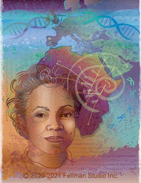 Genetic Ancestry Portrait by Lynn Fellman